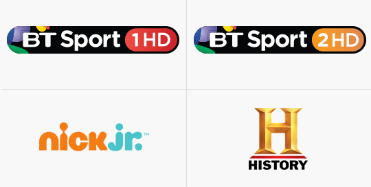 BT Sport 1HD, BT SPort 2HD, Nick JR, History