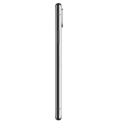 Side view of Apple iPhone X 64GB Silver