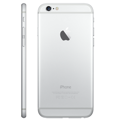 Right side & back view of Apple iPhone 6 16GB Silver