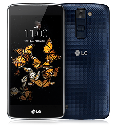 Composite view of LG K8 in Indigo Blue