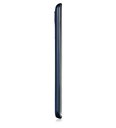 Right side view of LG K8 in Indigo Blue