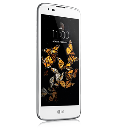 Right angle view of LG K8 phone in White