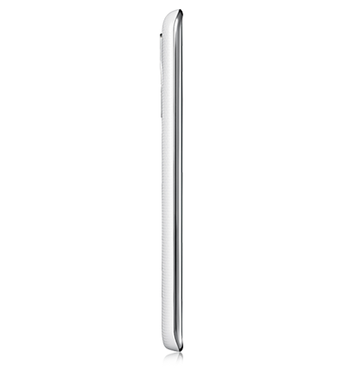 Right side view of LG K8 phone in White