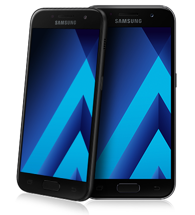 Composite view of Samsung Galaxy A3 (2017) Black phone