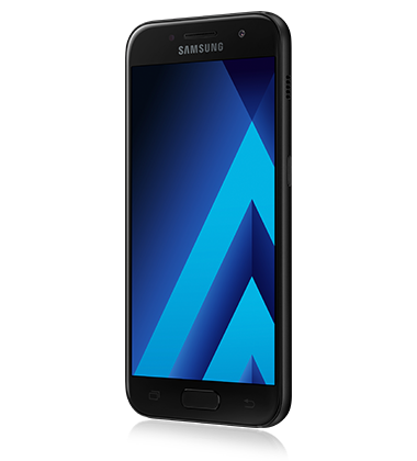 Left angle view of Samsung Galaxy A3 (2017) Black phone