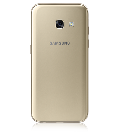 Back view of Samsung Galaxy A3 (2017) Gold phone