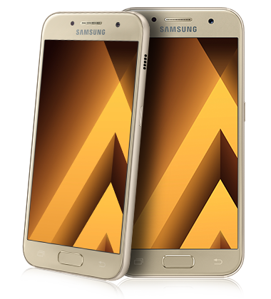 Composite view of Samsung Galaxy A3 (2017) Gold phone