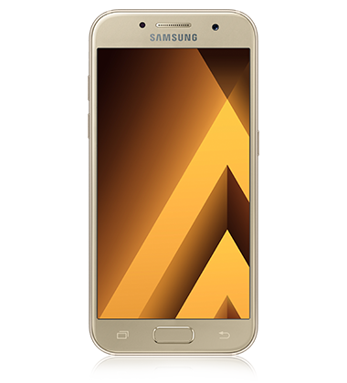 Front view of Samsung Galaxy A3 (2017) Gold phone