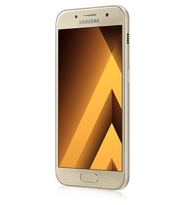 Left angle view of Samsung Galaxy A3 (2017) Gold phone