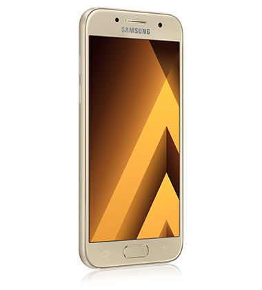 Right angle view of Samsung Galaxy A3 (2017) Gold phone