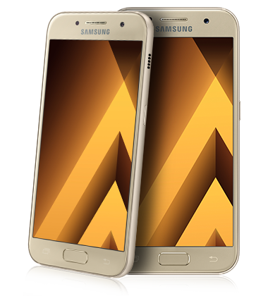 Composite view of Samsung Galaxy A5 (2017) Gold phone