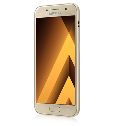 Left angle view of Samsung Galaxy A5 (2017) Gold phone