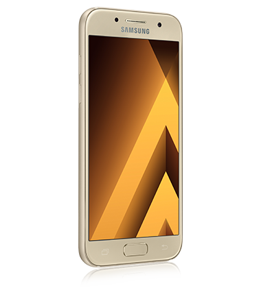 Right angle view of Samsung Galaxy A5 (2017) Gold phone