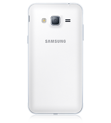 Rear view of Samsung Galaxy J3 White phone