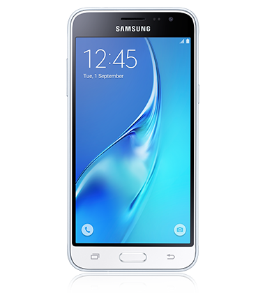 Front view of Samsung Galaxy J3 White phone