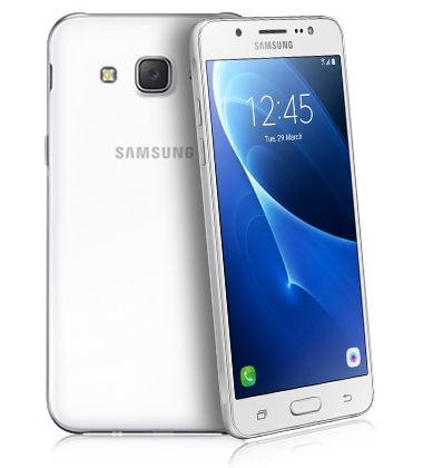 Composite view of Samsung Galaxy J5 White phone