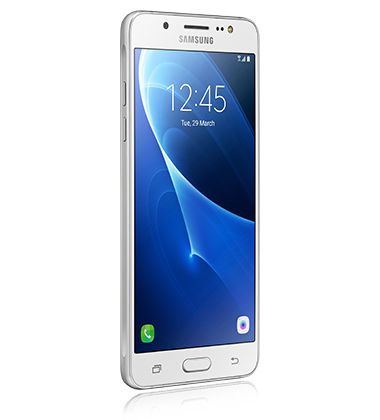Right angled view of Samsung Galaxy J5 White phone