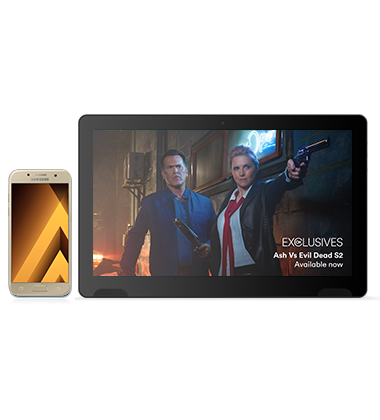 Composite view of Samsung Galaxy A5 (2017) Gold phone with TellyTablet