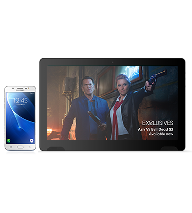 Composite view of Samsung Galaxy J5 White phone with TellyTablet