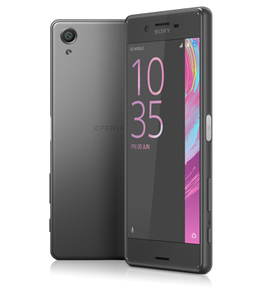 Composite view of Sony Xperia X Graphite Black phone