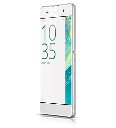 Angle view of Sony Xperia XA White phone