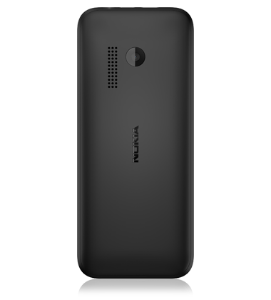 Rear view of the Nokia 215 Black phone