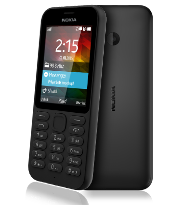 Composite view of the Nokia 215 Black phone
