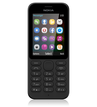 Front view of the Nokia 215 Black phone