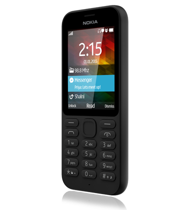 Left angled view of the Nokia 215 Black phone