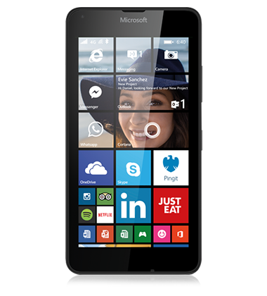 Front view of the Microsoft Lumia 640 Black phone