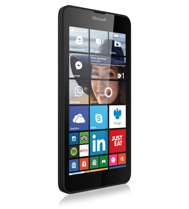 Right angled view of the Microsoft Lumia 640 Black phone