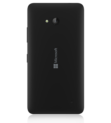 Rear view of the Microsoft Lumia 640 Black phone